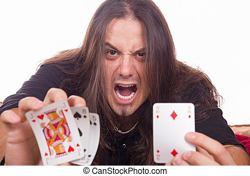 angry man shows his cards