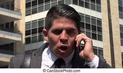 Angry Man Talking On Cell Phone