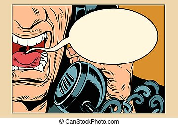 Angry man talking on the phone, comic cloud