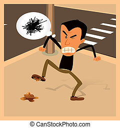 Illustration of a man getting furious because he walked on a dog dung
