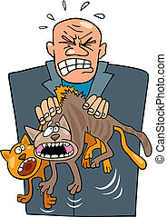 Angry man with cats - Illustration of angry man with rude...