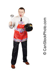 Angry man with kitchen accessories