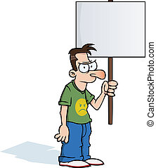 Angry man with protest sign