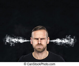 Angry man with smoke coming out from his ears.