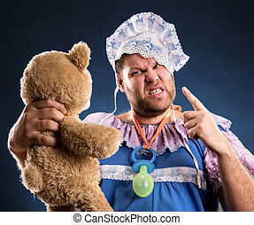 Angry man with toy bear