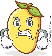 Angry mango character cartoon mascot vector illustration