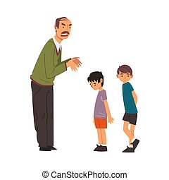 Angry Mature Man Scolding Naughty Boys, Man Chastening Children for Bad Behavior Vector Illustration