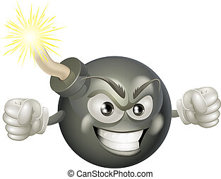 Angry mean bomb cartoon mascot - An illustration of mean or...