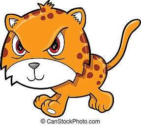 Angry Mean Leopard Animal Vector