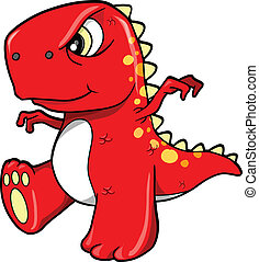 Angry Mean Red Dinosaur T-Rex Vector