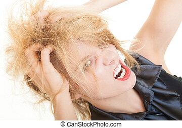 Angry messy businesswoman boss screaming with mouth wide open. Crazy mad girl messing up her hair. Trouble in work. Business concept. Studio shot. Isolated on white.