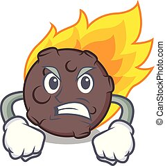 Angry meteorite mascot cartoon style vector illustration