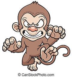 Angry monkey - Vector illustration of cartoon Angry monkey