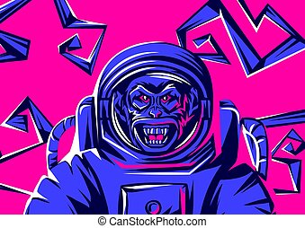 Angry monkey head in spacesuit. Rock and roll or disco music...