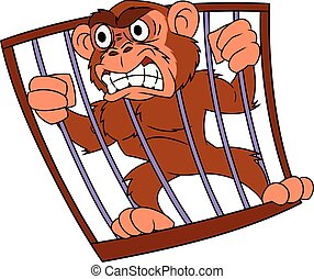 Angry monkey in cage 2