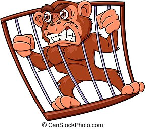 Angry monkey in cage