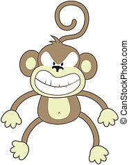 angry monkey - isolated cartoon monkey, individual objects...