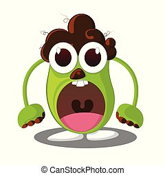 Angry monster, Cartoon character with angry expression - Vector Illustration
