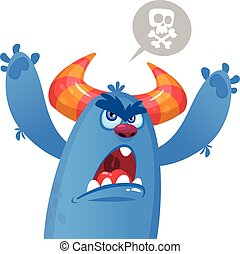Angry monster cartoon. Vector Halloween illustration
