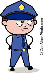 Angry Mood - Retro Cop Policeman Vector Illustration