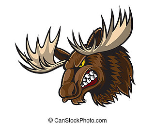 Angry Moose Head - cartoon moose who was very angry, staring...