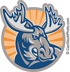 Angry Moose Mascot Retro - Illustration of an angry moose...