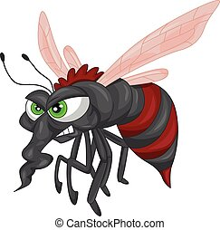 Angry mosquito cartoon illustration