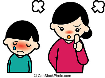 angry mother and crying boy - A mother scold her son