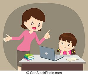 Angry mother And daughter Using Laptop At Home