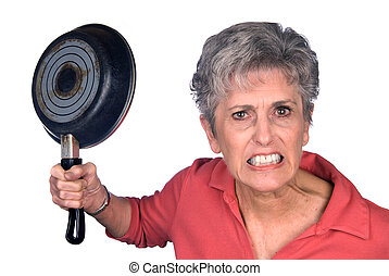 Angry mother and frying pan - An angry mother threatens to...