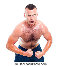 Angry muscular sports man
