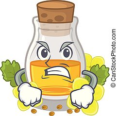 Angry mustard oil wrapped in mascot box vector illustration