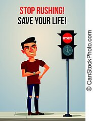 Angry nerves hurrying late man is waiting for green color traffic light and look on his watch. Vector flat cartoon illustration