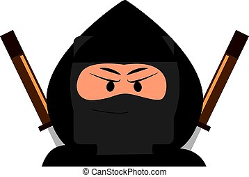 Angry ninja, illustration, vector on white background.