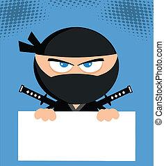 Angry Ninja Over Blank Sign