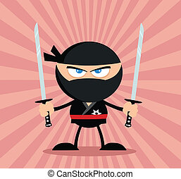 Angry Ninja Warrior Flat Design