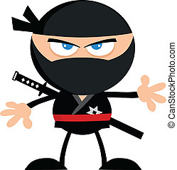 Angry Ninja Warrior .Flat Design