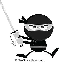 Angry Ninja Warrior In Gray Color