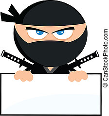 Angry Ninja Warrior Cartoon Character Over Blank Sign Flat Design Illustration Isolated on white