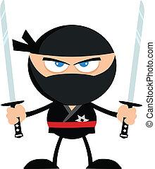 Angry Ninja Warrior With Two Katana.Flat Design