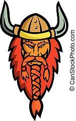 Angry Norseman Head Mascot - Mascot icon illustration of ...