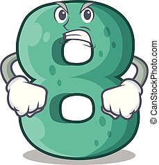 Angry number eight made with cartoon shaped