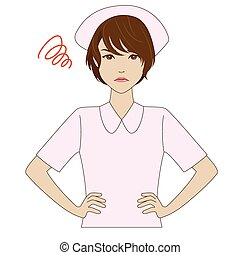 Angry nurse in pink uniform