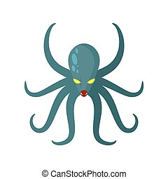 Angry Octopus. Horrible sea monster with tentacles. Vector illustration of green clam with yellow eyes. Kraken underwater animal