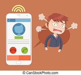 Angry office man boss character call. Vector flat cartoon illustration
