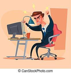 Angry office man character. Hard work. Vector flat cartoon illustration