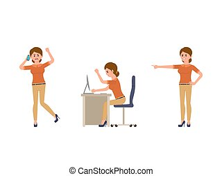 Angry office woman cartoon character