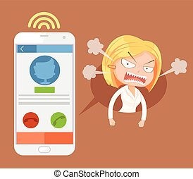 Angry office woman character call. Vector flat cartoon illustration