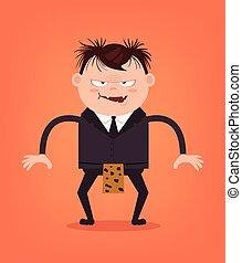 Angry office worker cave man businessman character. Vector flat cartoon illustration