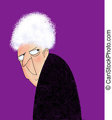 Angry Old Lady - Funny cartoon of a cranky old lady looking...